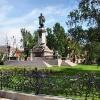 Warszawa, Pomnik Adama Mi<br />ckiewicza i Kościół Wizyt<br />ek :: Pomnik Adama Mickiewicza <br />w Warszawie na Krakowskim<br /> Przedmieściu, neoklasycy<br />styczny, wzniesiony w la